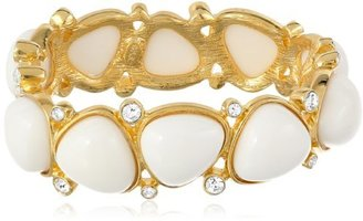 """Kenneth Jay Lane Gold-Plated and Crystal White Resin Bracelet, 8"""""""