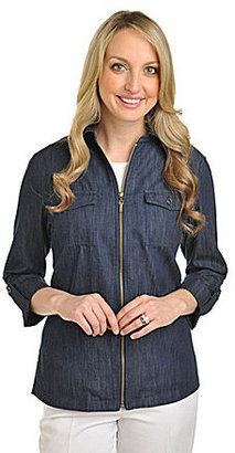 Allison Daley Petites Faux-Roll-Cuff Denim Jacket