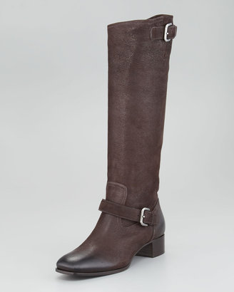 Prada Distressed Leather Double-Buckle Boot