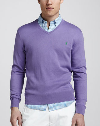 Polo Ralph Lauren V-Neck Cotton-Cashmere Sweater, Hampton Purple