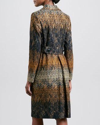 Missoni Double-Breasted Zigzag Coat, Black/Gold