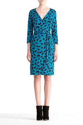 Diane von Furstenberg New Julian Two Silk Jersey Wrap Dress In Swirl Large Black