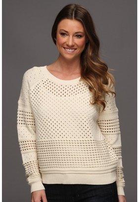 Halston Long Sleeve Crewneck Sweater with Hole Detail (Cream) - Apparel