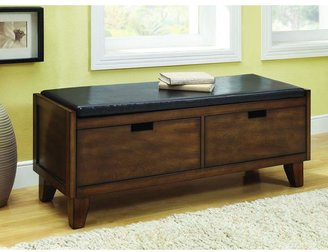 48 in. L Dark Walnut Solid Wood Bench with 2-Drawers