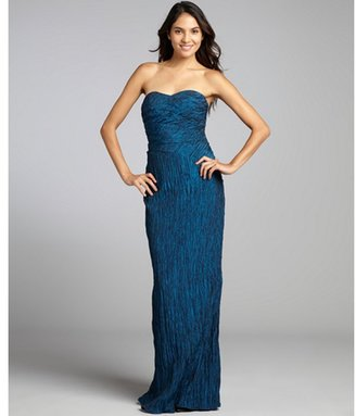Phoebe Couture blue crinkle taffeta strapless gown
