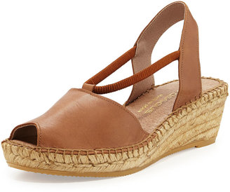 Andre Assous Dainty Leather Slip-On Espadrille Wedge, Brown