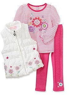 Kids Headquarters Baby Girls' Pink/White 3-pc. Floral Vest Set