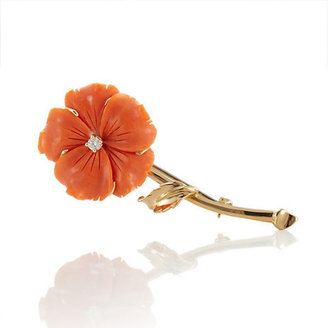 Gump's Salmon Coral Flower Brooch