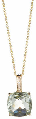 Effy 14K Yellow Gold Green Amethyst Pendant Necklace with 0.2TCW Diamonds