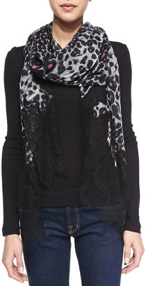 Valentino Cashmere Jaguar-Print Scarf with Lace Trim, Gray