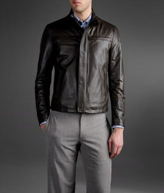Armani Collezioni Blouson In Used Effect Leather