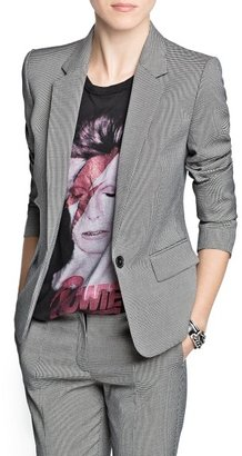 MANGO Houndstooth print suit blazer