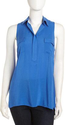 Neiman Marcus Sleeveless Chest-Pocket Blouse, Jet Blue