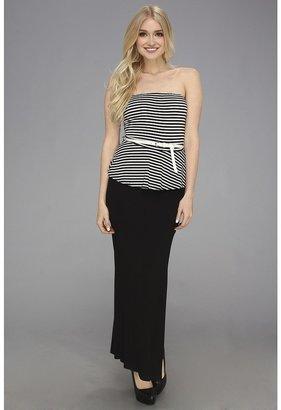 Gabriella Rocha Steven Stripe Peplum Maxi Dress (Black) - Apparel