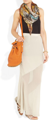 Kain Label Maren washed-silk and chiffon maxi skirt