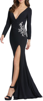 Mac Duggal Plunging Long-Sleeve Bead-Embellished Jersey Gown