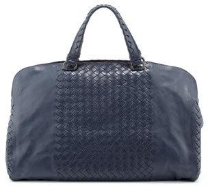 Bottega Veneta Leggero Intrecciato Tote Bag, Navy