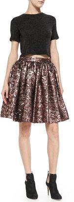Alice + Olivia Pia Metallic Jacquard Full Skirt
