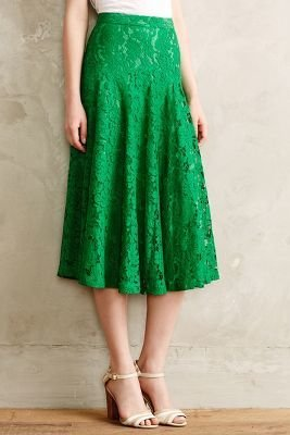 Anthropologie Champagne & Strawberry Grass-Lace Midi Skirt