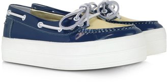 Sonia Rykiel Blue and Cream Patent Leather Boat Shoes