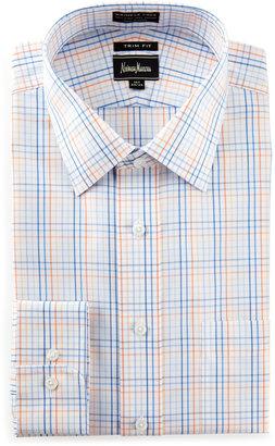 Neiman Marcus Trim-Fit Non-Iron Check Dress Shirt, Orange