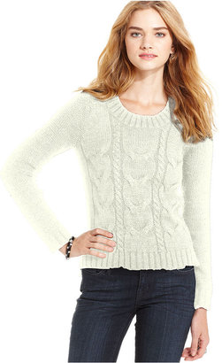 Pink Rose Juniors Sweater, Long Sleeve Cable-Knit Elbow-Patch