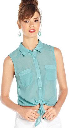 Keds Juniors Top, Sleeveless Tie-Waist Button-Front