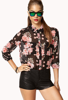 Forever 21 Floral Print Chiffon Shirt