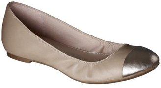 Merona Women's Bella Genuine Leather Cap Toe Flat - Natural/Gold