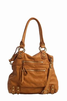Linea Pelle Medium Dylan Leather Zip Tote in Scotch