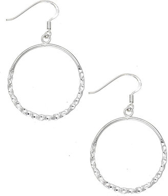 Unwritten Sterling Silver Earrings, Hammered Circle Hoop Earrings