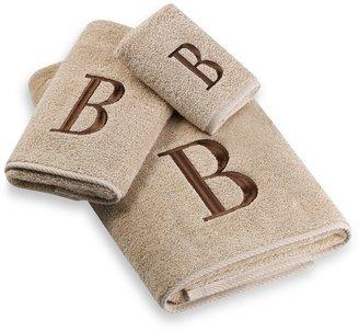 Avanti Premier Brown Block Monogram Bath Towel Collection in Linen