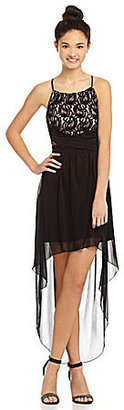 Teeze Me High-Neck Lace Hi-Low Dress