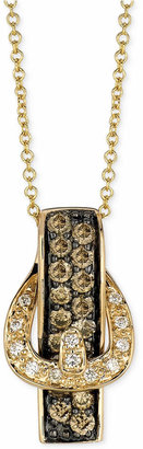 LeVian Le Vian White Diamond Accent and Chocolate Diamond (1/2 ct. t.w.) Buckle Pendant Necklace in 14k Gold