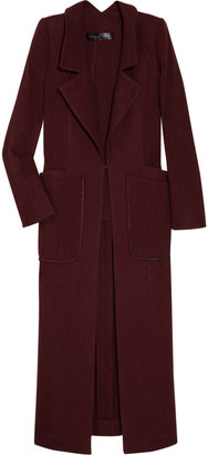 Theyskens' Theory Suede-trimmed wool-blend coat