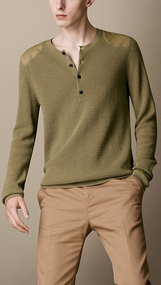 Burberry Suede Panel Henley Sweater