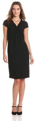 Magaschoni Women's Cap Sleeve Wrap Detail Dress