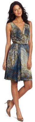 Anne Klein Collection Women's Fisnet Print Wrap Dress