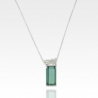 H.Stern very good (VG 18k White Gold Green Tourmaline Diamond Necklace