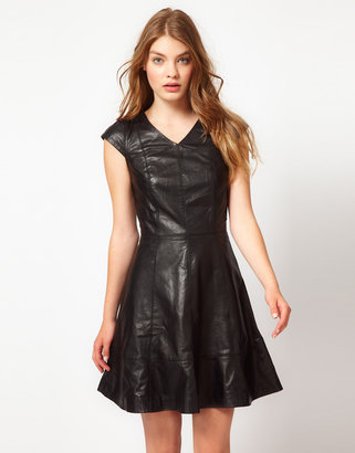 Urban Code Leather Fit And Flare Dress