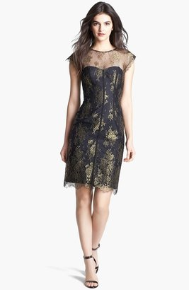 Monique Lhuillier Illusion Yoke Metallic Lace Dress