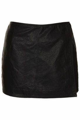 Topshop Black faux leather skort