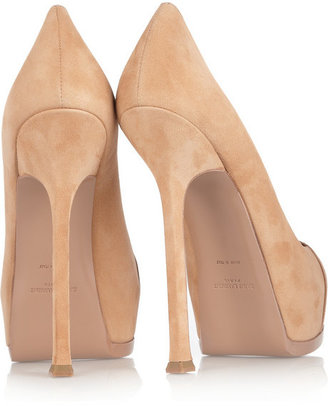 Saint Laurent Tribute Two suede and patent-leather pumps