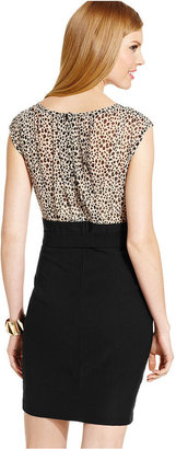 Amy Byer Juniors Dress, Cap Sleeve Animal-Print Bodycon