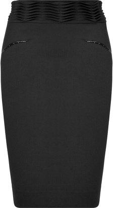 L'Agence LAgence Black Wave Pleat Pencil Skirt