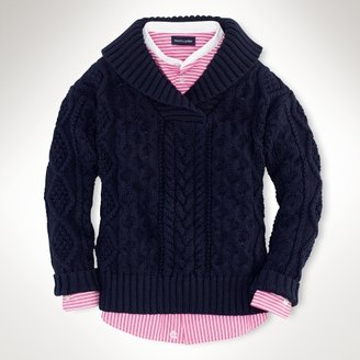 Cable-Knit Shawl Sweater