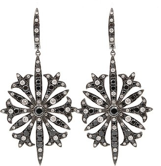BOCHIC Black and White Diamond Starburst Earrings