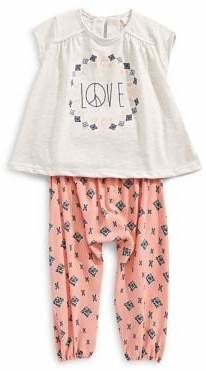 Jessica Simpson Baby Girl's 2-Piece Cotton Blend Top Printed Pants Set