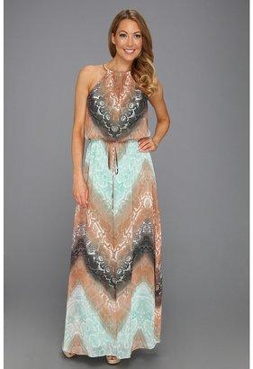 Vince Camuto Python Print Chiffon Maxi Dress (Multi) - Apparel