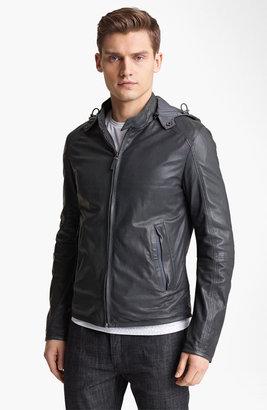 Z Zegna Hooded Leather Jacket